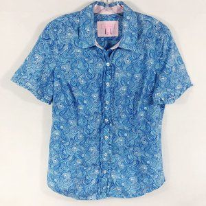 Lilly Pulitzer | Blue Paisley Leopard Button Down